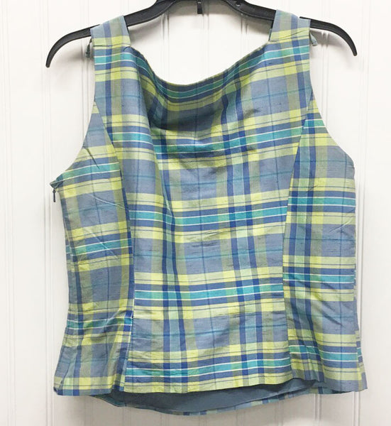 Ann Taylor Sleeveless Square Neck Blue Green Checkered Tank Size 6P