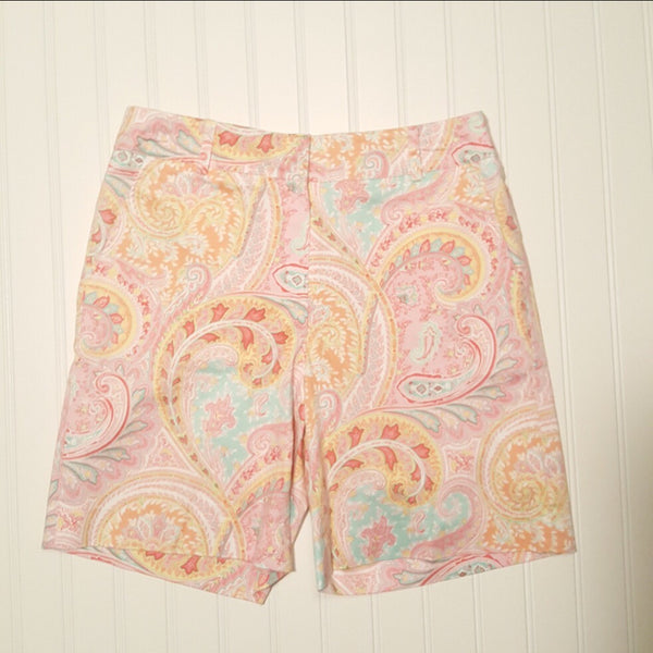 Bushwacker -Women's Athletic Shorts - Pink Paisley Multicolored - Size 4