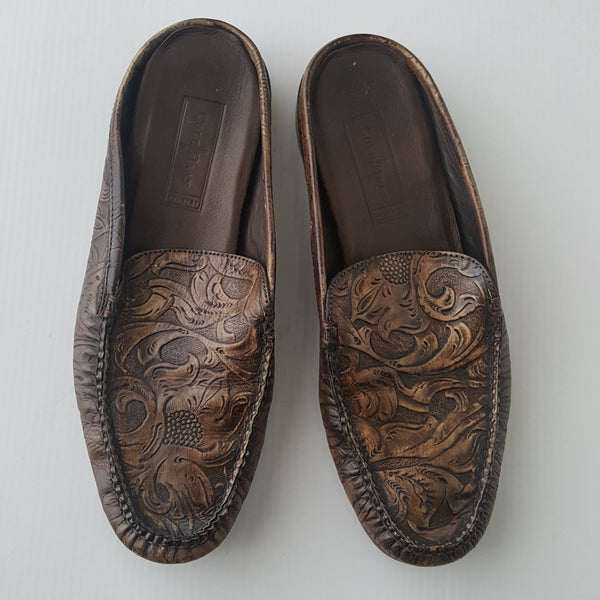 Embossed Brown Leather Cole Haan Slip ons - size 10.5 AA