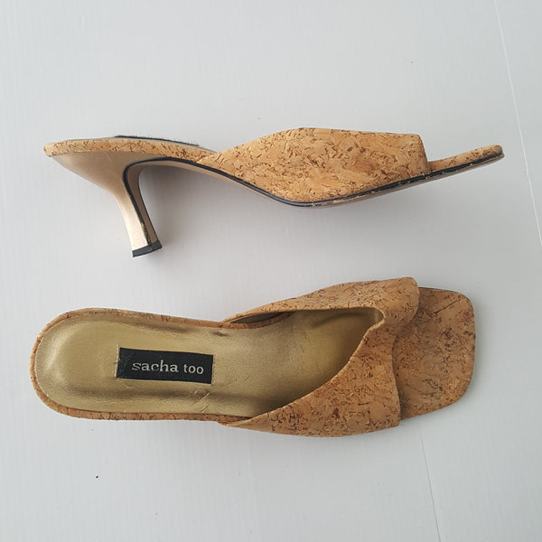 Sacha Too leather cork design slip on heels Mules - size 10M
