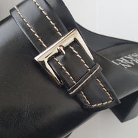 FRANCO SARTO black leather silver buckle slip on heels - size 10M