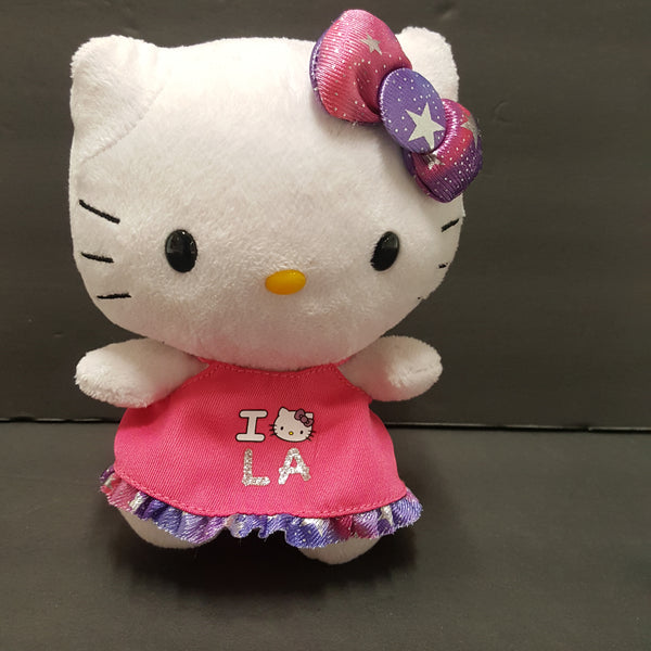 TY HELLO KITTY  plush Sanrio pink dress with purple trim