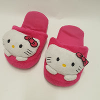 Pair HELLO KITTY hot pink plush Sanrio Slippers