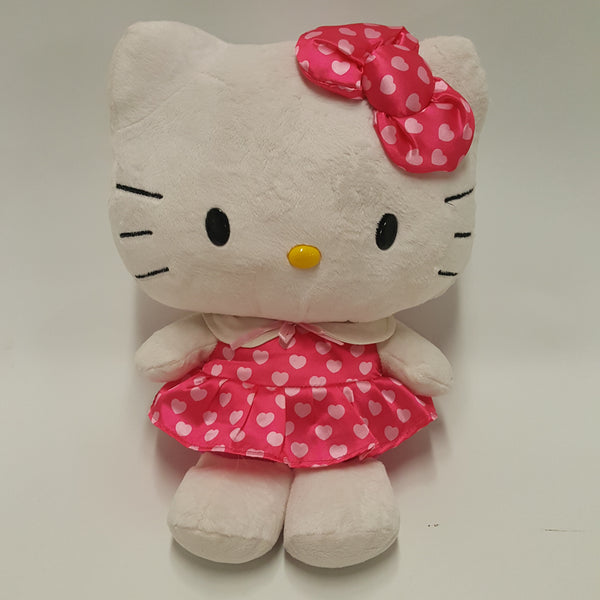 Large HELLO KITTY sitting plush pink polka dot dress Sanrio