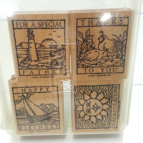 STAMPIN UP Rubber Stamps:  Wonderful Woodcuts  2001