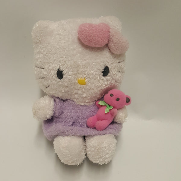 HELLO KITTY  plush with pink Teddy Bear  Sanrio