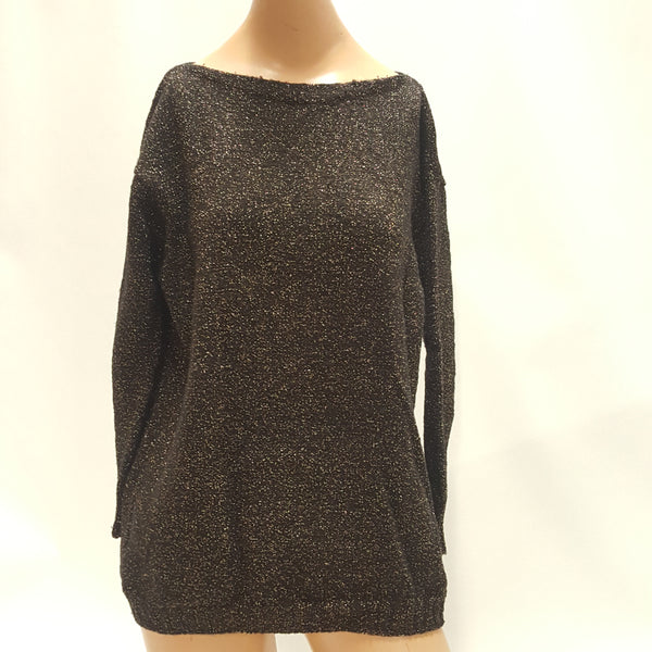 vintage Gold Lame and Black Sweater