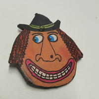 Fabric Mache Witch Head Halloween Pin