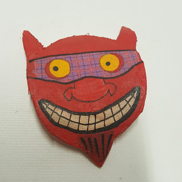 Red Devil Head Fabric Mache Halloween Pin