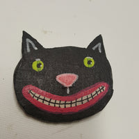 Black Cat Head Fabric Mache Halloween Pin