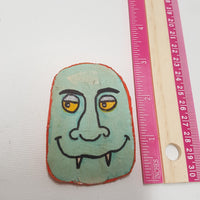 Blue Monster Head Fabric Mache Halloween Pin