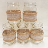 Burlap and Lace Mason Jar