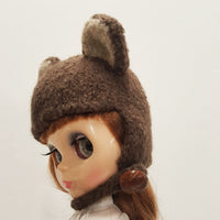 Brown Mouse Felted Wool Hat for Blythe doll