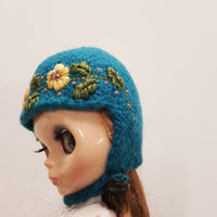 Yellow Flowers  Blue Felted Wool Hat for Blythe