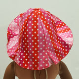 Reversible Red and Dotty Sun Hat for 18 inch Dolls