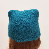 Blue Felted Wool Hat with Yellow Flowers Hat for Blythe