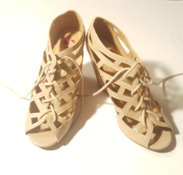 MIA Girl (Quincy) Women's TAN Front Lace-Up Open Toe Wedge Sandals SZ10