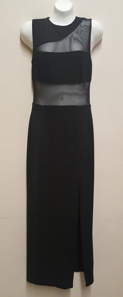Cache Women's Black maxi Dress with see thru Midriff $156