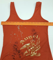 Entro Womens Medium Rust Color with Gold foil Angel TankTop