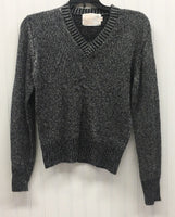 Fully Fashioned Vintage Silver Lame and Black  Sweater Size M