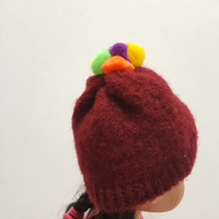 Burgundy Felted Wool Cap for Wellie Wishers 14 inch Dolls
