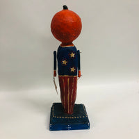 Folk Art Paper Mache Patriotic Pumpkin Head