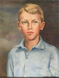 Oil on Canvas, Portrait of Young Boy, Signed V.W.B