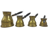 Graduating Spouted Brass Turkish Coffee Pots with wood Handles