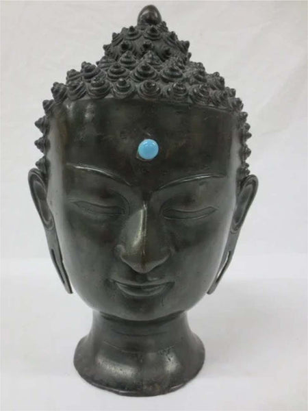 19thc.  Cast bronze head of  Sakya-Muni (Gautama Buddha)