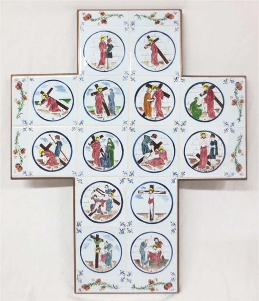 Cruciform hand painted Stations of the Cross