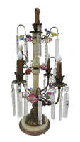 Pair of Antique French Empire Floral Lamps