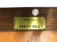 Handcrafted ARDLEY HALL Oval Mahogany Desk with Inlaid Leather Top