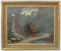 Oil on Board, Traveler with Harp, ca. 1910, Unsigned