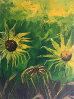 Oil painting titled  Sunflowers by Lee Reynolds (American)
