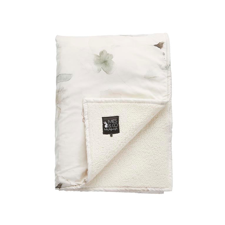 Mies & Co soft teddy wiegdeken forever flower offwhite