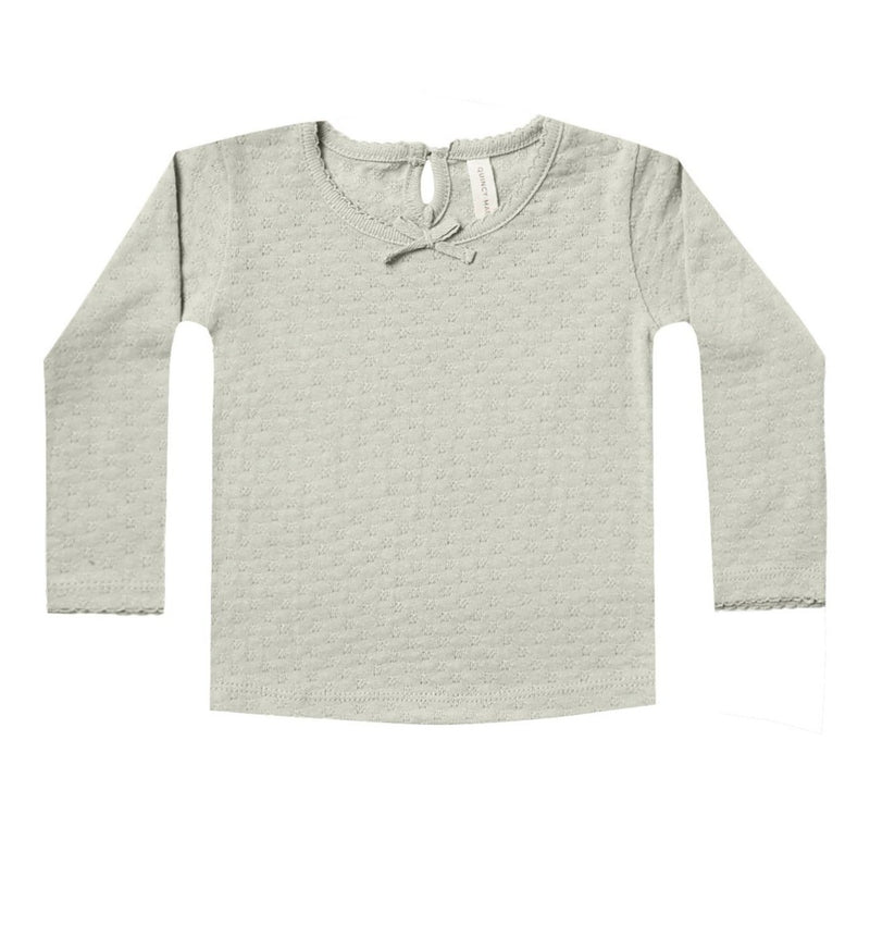 Quincy Mae shirt pointelle sage