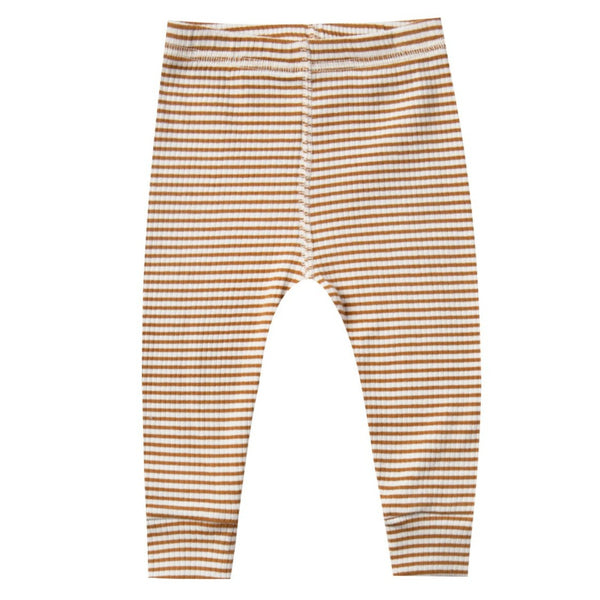 Quincy Mae baby legging streepje walnoot offwhite