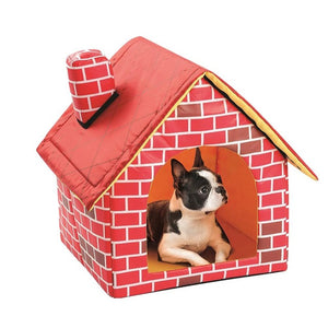 Dog House Red Brick Pet House with Chimney