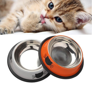 Dog Cat  Stainless Steel Anti-skid Water  Feeding Bowls