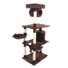 "Load image into Gallery viewer, M9c 52"" Sisal Cat Climbing Frame Cat Tree Cat Toy Brown Can Be Used As a Climbing Toy Or Bed For Cats Versatile And Practical"