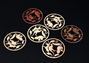 Native Animals Circle Coasters