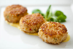 Pan-seared mini crab cakes w tangy mustard sauce (1 doz)