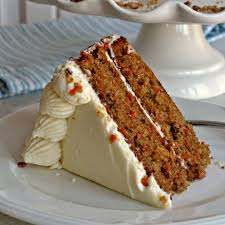 Traditional rich carrot cake, cream cheese icing