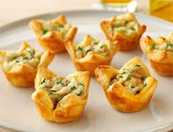 Caramelized onion tartlets w truffle mascarpone (1 doz)