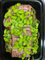Sweet potato noodles topped with seared ahi tuna and edamame