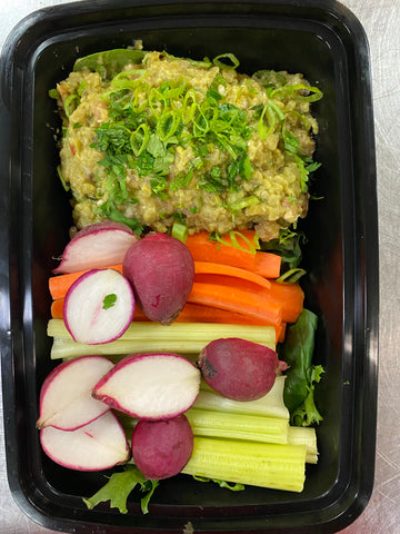 GF- Lentil guacamole with cumin, cilantro and lime, celery, carrot and radish dipping sticks