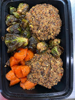 Vegan black bean and quinoa meatloaf, roasted Brussels sprouts, agave carrots