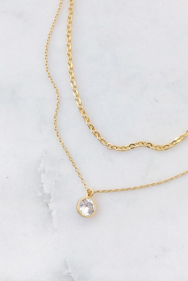 Crystal Dot Layered Necklace