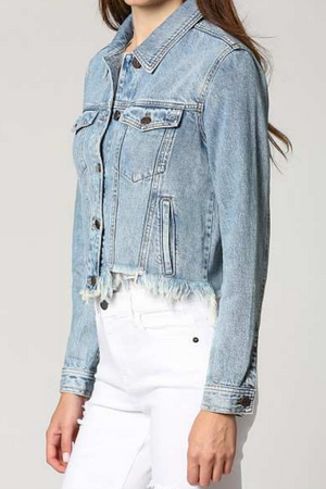 CROPPED FTTD JACKET W/FRAY