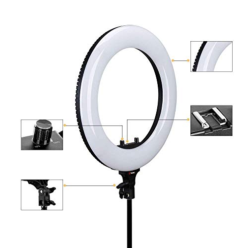 Simpex LED 600 48W Ringlight with Stand Kit 40W Bi-color 3200-5600k included Cosmetic Mirror for Photo Portrait Photography